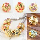 Wholesale Enamel Ribbons Awareness Gold Loose Beads Fit European Charms Bracelet