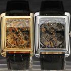 LUXURY STEAMPUNK MEN'S RECTANGLE SKELETON DIAL MECHANICAL LEATHER WRISTWATCH0198