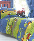 Hill Top Farm Childrens Reversible Duvet Set Tractors Farm Animals for Kids