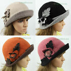 Stylish Womens Luxury Felt Wool Warm Hat Winter Xmas Flower Trim Bucket Brim Cap