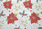 XMAS POINSETTIAS RED VINYL PVC OILCLOTH WIPE CLEAN TABLECLOTH CO click for sizes