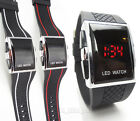 BLACK LED RETRO STYLISH FASHION DIGITAL MENS SPORTS WRIST WATCH WHITE/BLACK/RED
