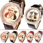 Fashion Womens Girls Crystals Decorated Quartz Wrist Watch,Couple Lover Cats