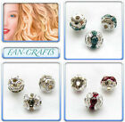 Christmas Jewelry Beads 4pcs Silver-plated Rhinestone Round 8mm * Many Colours *