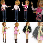 Lot Items 2-Ways Wearing Barbie Dolls Clothes Pants Outwear Shoes Dress Belt Set