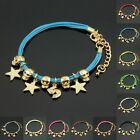 """New Fashion Assorted Colors Gold Plated Charms """"5"""" Star Skull Style Bracelet"""