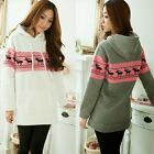 Winter New Xmas Deer Polka Dot Pullover Women Hoodie Sweats Sweatshirt Outwear