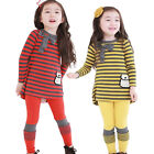 Girls Kids Party Striped Top Shirt Dress+Leggings Bow 2Pcs Clothes 2-9Y Outfits