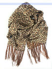 100% Silk 2-Layer Shawl/Wrap/Scarf Leopard Print Oblong | FJUS
