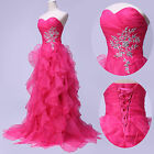 New Strapless Organza Ball Party Gown Cocktail Prom Evening Floor Length Dress