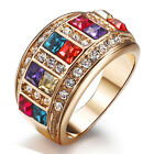 18K GOLD GF R155 CHUNKY SQUARE QUEEN SWAROVSKI RHINESTONES SOLID BAND RING GIFT