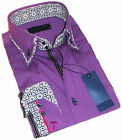 Brand New Mens Formal, Smart, Purple, Black / White Double Collar Slim Fit Shirt