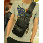 Men's Leather Travel Hiking Casual Shoulder Messenger Sling Chest Pouch Bag