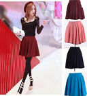 Woman Mini Flared Skirt Candy Color Stretch Waist Plain Pleated Short dress TR19