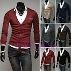 Fashion Mens Slim Fit Cotton Knit Sweater Cardigan Button Deep V Neck Basic Coat