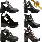 WOMENS LADIES CUT OUT BOOTS ANKLE CHUNKY FLAT LOW HIGH HEEL BUCKLE BIKER BLOCK