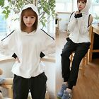 Fashion Cut-out Sleeve Drawstring Hem Women's Tracksuit Hooded Sweat Top Pants