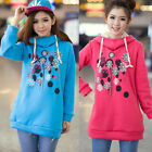 Chic Snowflake Pullover Drawstring Winter Women Hoodie Outwear Sweat Sweetshirt
