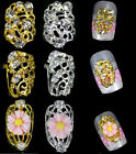 5pcs Silver Gold Plate Hollow Metal Charm 3D Rhinestone Alloy Nail art Tip Decal