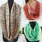 Zebra Stripe Chiffon Soft Infinity 2-Loop Cowl Eternity Circle Endless Scarf New
