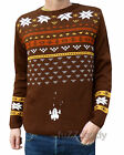 Xmas space JUMPER brown vtg indie retro kitsch NEW 80's Arcade video game geek