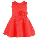 Baby Kids Toddlers Girls Princess Floral Birthday Party Solid Lace Dress 2-7Y