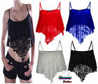 LADIES SWING LACE DIP HANDKERCHIEF WOMENS STRAPPY CROP HANKY HEM CAMI VEST TOP