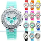 NEW Fashion Ladies Quartz Crystal RUBBER SILICONE JELLY Sport Dial Wrist Watch