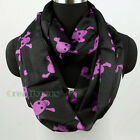 Skull Black Color Infinity 2-Loop Cowl Eternity Endless Circle Soft Casual Scarf