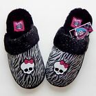 MONSTER HIGH MATTEL Glittery Zebra Skullette FauxFur Slippers NWT Girls Sz 11/12