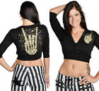 Too Fast Ladies Up Yours Malice Cropped Cardigan Black   (b1b)