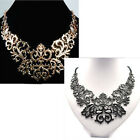 Noble Elegant Women Hollow Flower Lace Pattern Floral Curved Chunky Bib Necklace