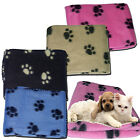 SOFT COSY WARM FLEECE PAW PRINT PET BLANKET DOG PUPPY ANIMAL CAT BED BLACK CREME