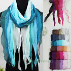 100% Cotton Stylish Fashion Women's Stitching Colorful Long Scarf Shawl Tassel