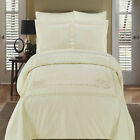 Luxury Athena Ivory Embroidered Egyptian Cotton Duvet Cover with Pillow Shams