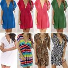 Womens Ladies Deep-V Swimwear Bikini Cover Up Shirt Summer Beach Mini Dress New