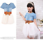 Girls Kids Toddler Princess Denim And Tulle Stitching Bow Tulle Dress 3-8Y LZL