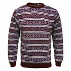 Brand New Burgundy Fair Isle Nordic Ski Jumper Knitwear Pullover Sizes S - XL