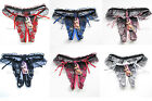 Women's Lace Open Crotch Thongs G-string V-string Panties Lingerie Underwear