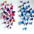12pcs 3D Butterfly Wall Fridge Stickers Home Room Decal Art Decoration Pink/Blue