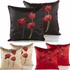 "Poppy Floral Faux Silk Two Large 22"" Cushion Covers Or Complete One Pair (2)"