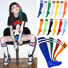 Ladies Womens Referee Stripe Over Knee High Socks Fancy Dress Cotton White Red