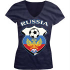 Russia World Cup Soccer Flag Crest Russian Pride Girls Junior V-Neck T-Shirt