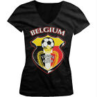Belgium World Cup Soccer Flag Crest Belgian Pride Girls Junior V-Neck T-Shirt