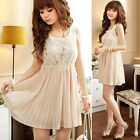 Elegant Ladies Cool Sleeveless Mini Chiffon& Lace Slim Fit  Summer Casual Dress
