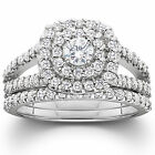 1.10CT Cushion Halo Diamond Engagement Wedding Ring Set 10K White Gold Size 4-9