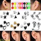 16G/18G Skull Helix Ball Barbell Tragus Ear Cartilage Studs Fake Cheater Earring