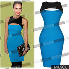 Womens Sexy Sleeveless Contrast Jersey Strech Midi Bodycon Party Dresses Blue618