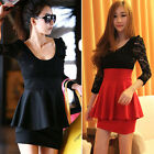 Womens Peplum Style Bodycon Lace Mini Dress Ladies Party Cocktail Celebrity UK