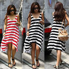 New Casual Summer Irregular hem Women White Striped Loose Beach Sun Dress Y735